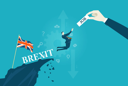 British businessman jumping from the cliff for the opportunity to have a job in Europe. Brexit concept illustration