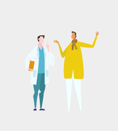 Doctor  talking to patient in hospital. Ilustração