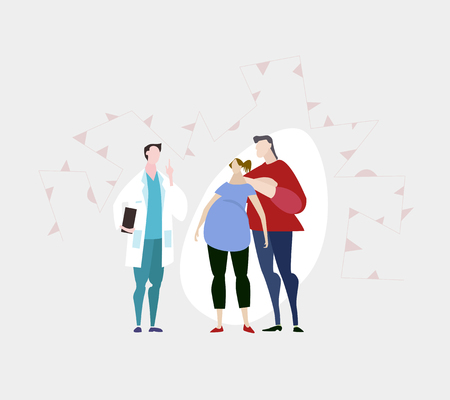 Doctor talking to young family. Pregnant young woman and her partner in hospital. Ilustração