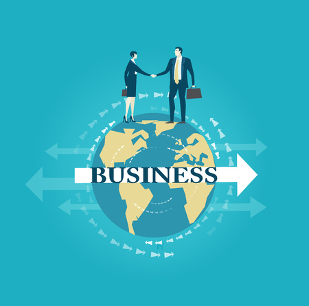 Business people shake hands as a symbol of globalisation and a team work.