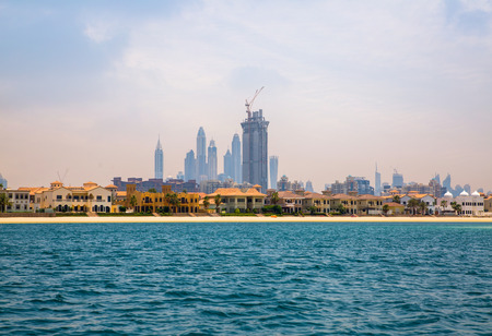Dubai UAE, Dubai Marina in distance and villas of The palm Jumeirah Editorial