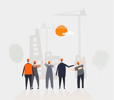 Team of working and business people looking over the building site. Build new homes concept illustrationTeam of working and business people looking over the building site. Build new homes concept illustration