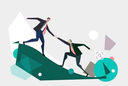 Two business people climbing up, helping and working together concept illustration