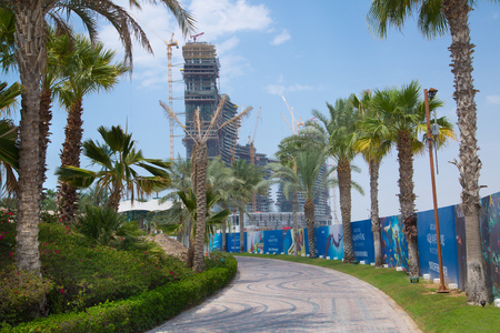 Dubai, UAE, United Arab Emirates - 29 May, 2019: New massive building site, project of future Residential complex of Atlantis on the Palm Jumeirah