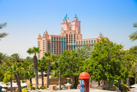 Dubai, UAE, United Arab Emirates - 28 May, 2019:  Atlantis hotel view form the Aquaventure water park, locates on the Palm Jumeira. Luxury Hotel was open in 2008, has 1539 rooms and biggest water park Editorial