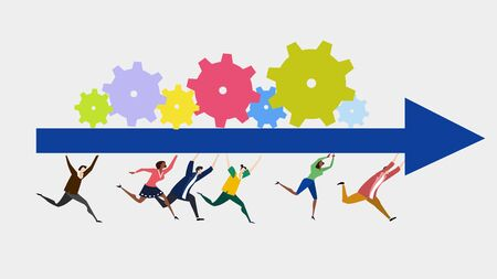 Group of young motivated people running together in one direction and holding the arrow with rotating gears