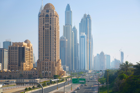 Dubai, UAE United Arabs Emirates - 29 May, 2019: Arjaan building and Dubai marina skyscrapers at the background. King Salman Al Saud highway view.  Apartments, hotels and office buildings of UAE