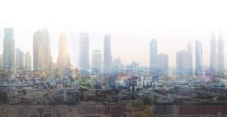 Multiple exposure image of modern city with skyscrapers. Global business, success and future perspectives concept