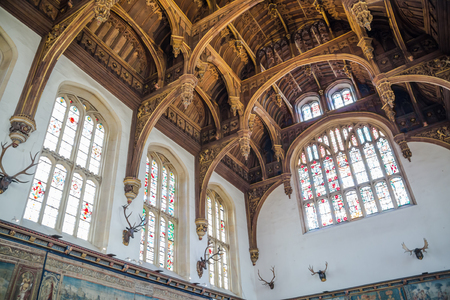 London, UK - July 29, 2019:  Interior of the Hampton court 17th century. Ceiling of the court church. Editorial