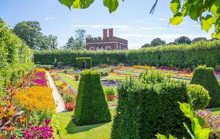 London, UK - July 29, 2019:  West London Bushy park. Beautiful english garden view, with lots of trees and flowers. The Banqueting house at the background