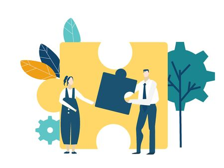 Two young business people working together with puzzles as symbol of collaborating, solving problems, thinking about creative idea, brainstorming and teamwork concept. Flat style illustration.