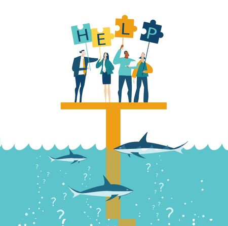 Group of young business people surviving at the platform in sea surrounded by sharks and asking for help. Working with puzzles as symbol of collaborating, solving problems, support
