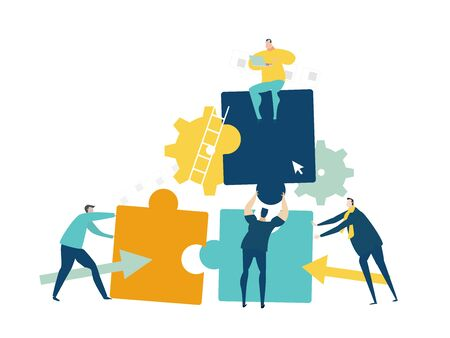 Group of young business people working with puzzles as symbol of collaborating, solving problems, thinking about creative idea, brainstorming and teamwork concept. Flat style illustration.