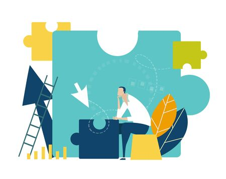 Young businessman generating ideas and working with puzzles as symbol of collaborating, solving problems, brainstorming concept. Flat style illustration.
