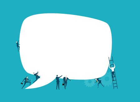 Group of business people working together and holding up big speech bubble with space for text. Symbol of collaborating, solving problems, thinking about creative idea, and teamwork concept.  イラスト・ベクター素材