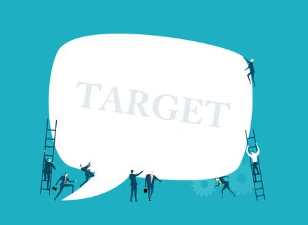 Group of business people working together and holding up big speech bubble with space for text. Symbol of collaborating, solving problems, thinking about creative idea, and teamwork concept. Illustration