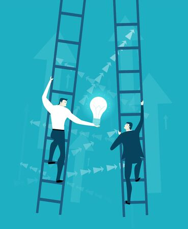 Two businessman competing agains of each other on the professional leader. Getting on top of career. Job, salary, professional opportunity concept.  Flat style illustration.
