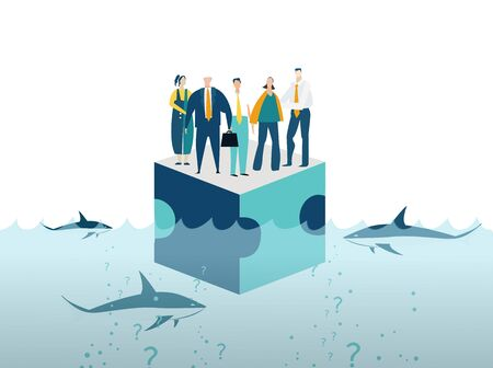 Group of young business people surviving at the platform in sea surrounded by sharks. Working together,  collaborating, solving problems, support concept