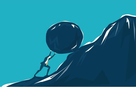 Businessman in suit rolling big rock on top of the mountain. Leader, winner, strength and successfulness in business