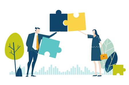 Two young business people working with puzzles as symbol of collaborating, solving problems, thinking about creative idea, brainstorming and teamwork concept. Flat style illustration. 스톡 콘텐츠 - 129770244