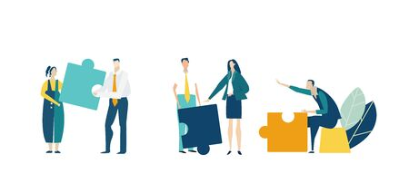 Group of young business people working together with puzzles as symbol of collaborating, solving problems, thinking about creative idea, brainstorming and teamwork concept. Flat style illustration. Foto de archivo - 129770245