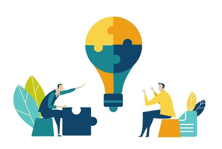 Two young creative people discussing business idea. Collaborating, solving problems, thinking about creative idea, brainstorming and teamwork concept. Flat style illustration.