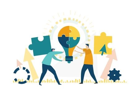 Two young business people holding light bulb made of puzzle pieces. Symbol of collaborating, solving problems, thinking about creative idea, support, brainstorming and teamwork concept.