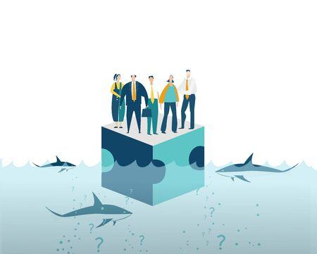 Group of young business people surviving at the platform in sea surrounded by sharks. Working together,  collaborating, solving problems, support concept 스톡 콘텐츠 - 129637542