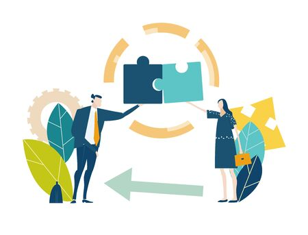 Two young business people working with puzzles as symbol of collaborating, solving problems, thinking about creative idea, brainstorming and teamwork concept. Flat style illustration.