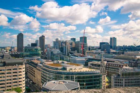 London, UK - June 20, 2019: City of London view from the St. Paul's cathedral at sunny summer day. View includes skyscrapers of banking and offie area Foto de archivo - 129659487