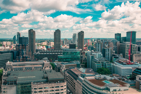 London, UK - June 20, 2019: City of London view from the St. Paul's cathedral at sunny summer day. View includes skyscrapers of banking and offie area Foto de archivo - 129746152