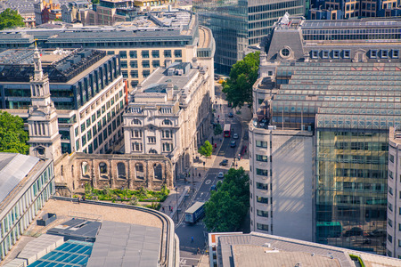 London, UK - June 20, 2019: City of London view from the St. Pauls cathedral at sunny summer day. 報道画像