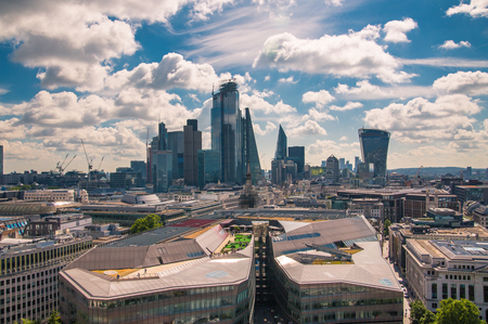 London, UK - June 20, 2019: City of London view from the St. Pauls cathedral at sunny summer day. View includes skyscrapers of banking and offie area