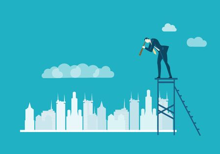 Successful businessman staying on top of the stairs and looking over the city with with the telescope. Finding new business opportunity.  Business concept illustration