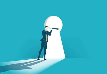 Successful businessman looking with the telescope into big key hole. Finding the right solution, control and discovery concept illustration 写真素材