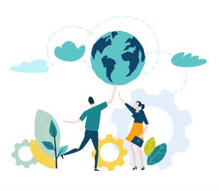 Young professional people holding the planet. Working together, love, care, support and sharing the knowledge concept illustration