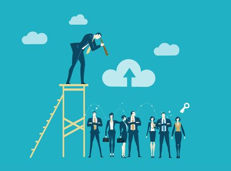 Successful businessman staying on top of the stairs and looking with the telescope at his team working hard. Business concept illustration