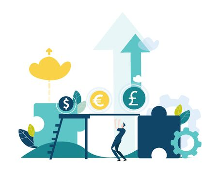 Money market, currencies , earnings and growth concept illustration. Business illustration