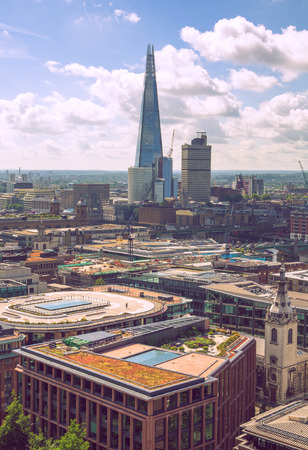 London, UK - June 20, 2019: City of London view from the St. Paul's cathedral at sunny summer day. View includes skyscrapers of banking and offie area Reklamní fotografie - 129934094