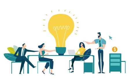 Team of professional people talking over the meeting. light bulb as a symbol of new idea and finding solution. Developing, taking a risk, support and solving the problem business concept illustration.