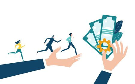 People running towards the professional success and better salary. Developing, taking a risk, support and solving the problem business concept illustration.