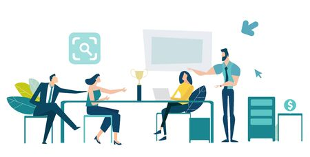 Group of professional business people at the meeting, discussing the deal. Developing, taking a risk, support and solving the problem business concept illustration.