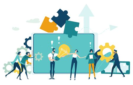 Group of professional business people searching in internet. Developing, taking a risk, support and solving the problem business concept illustration.