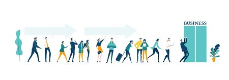 Business people queueing for the better job. Finding new opportunity, competing, improving and care growth concept illustration