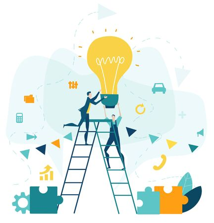 Two business people climbing up on the ladder towards the light bulb. Generating ideas and unique business approach.