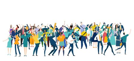 Large group of people. Crowd, people going together, protesting, celebrating, Seamless composition. Business people, teamwork concept.
