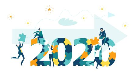 Little business people working around 2020 New year sign and Christmas tree made of puzzle pieces. Arranging celebration