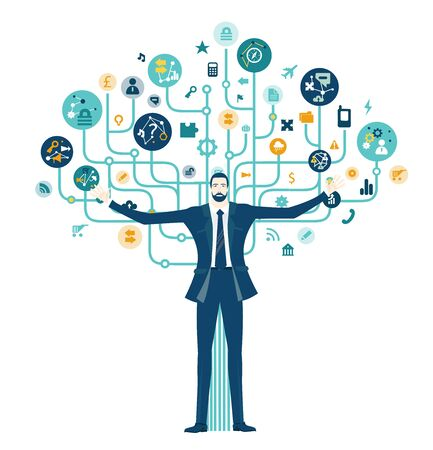Thinking businessman. Business tree of success made of communication icons at the background