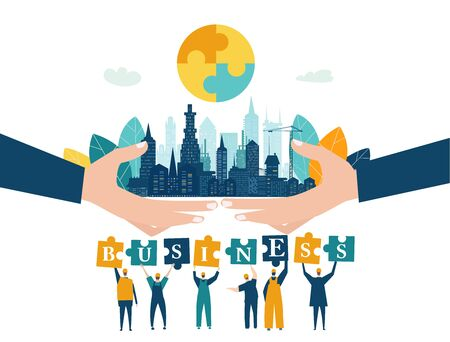 People building the city. City background with building cranes and team of working people holding puzzle pieces up. Business concept illustration. Ilustrace