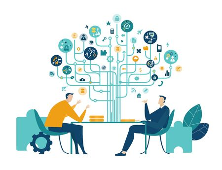 Two business people talking in the office, negotiating the contract or deal. Business tree of success made of communication icons at the background